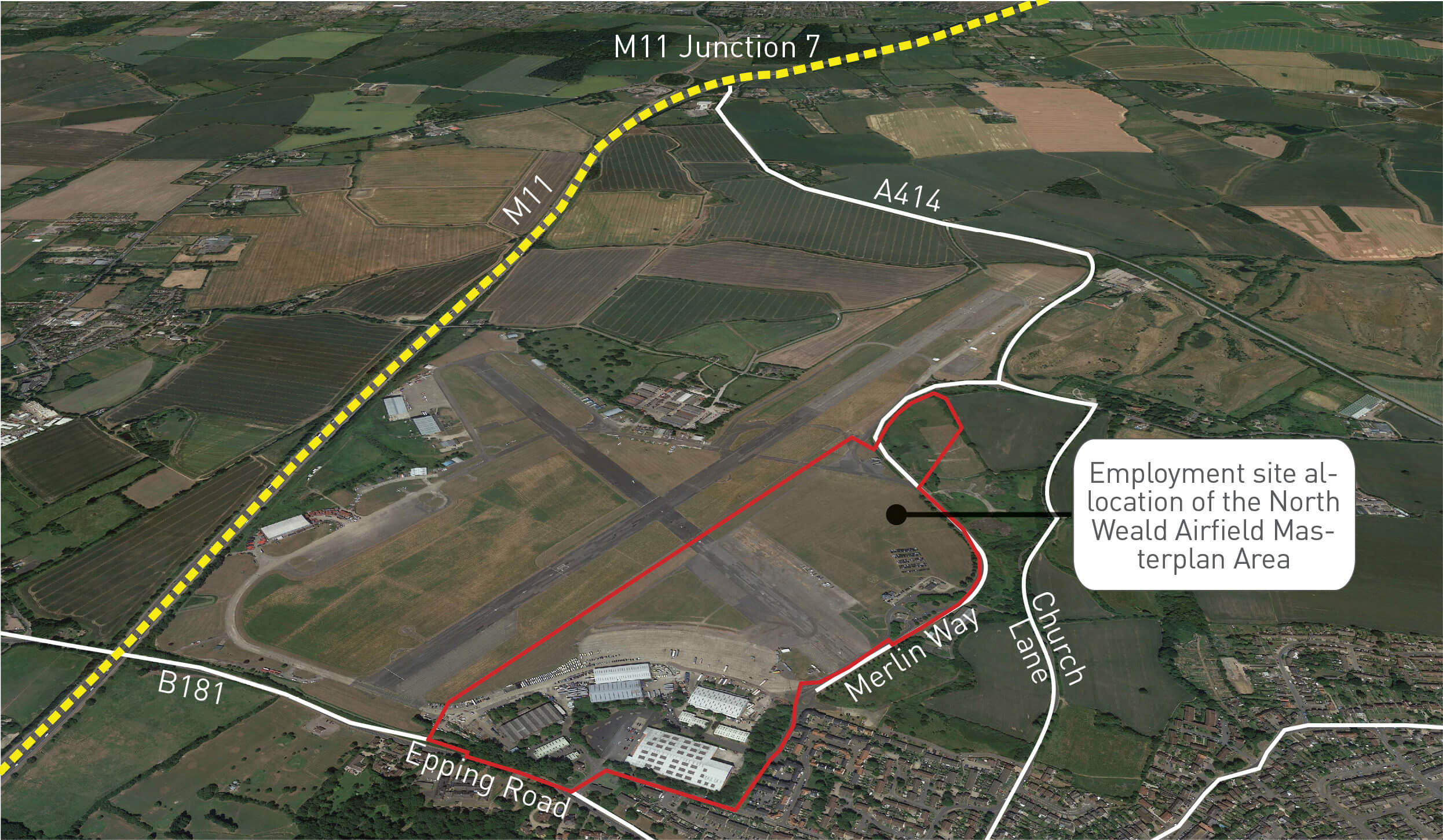 Employment site allocation of the North Weald Airfield Masterplan Area